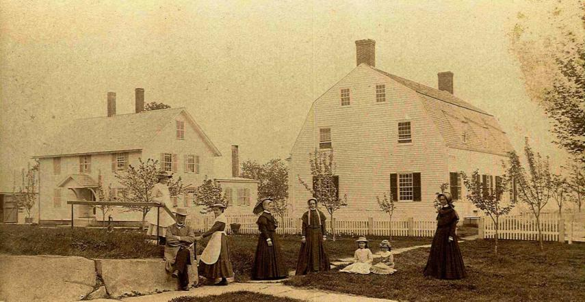 """East Canterbury, N. H. Meeting House at the right. Ministry's Dwelling at the left,"""" Church Family, Canterbury,"""